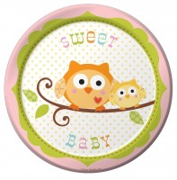 8 Woodland Babyparty Pappteller 18cm