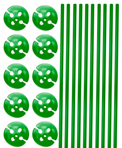 10 balloon sticks with holder green