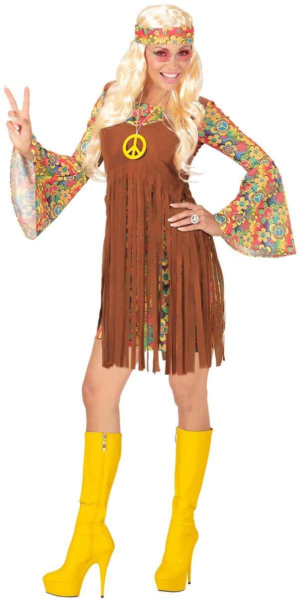 Anni 70er Costume Hippie Flower Power Vestito XL 46 48 figlio dei fiori Costume da donna