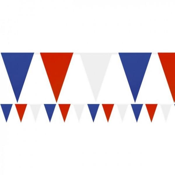 Cadena de banderines rojo-azul-blanco 36m