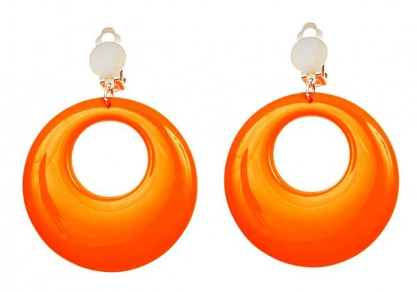 Retro Ohrringe In Neon-Orange