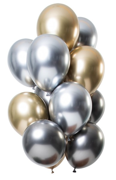 12 latex balloons mirror effect gold silver
