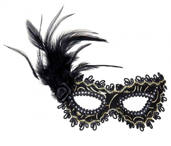 Szlachetna maska na oczy z piórami