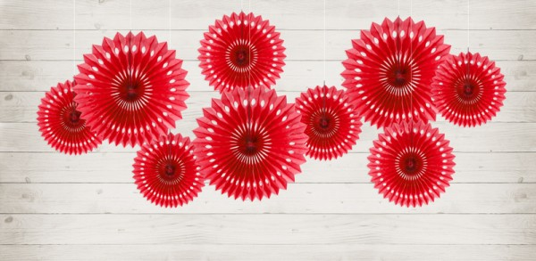 3 paper rosettes Kate red
