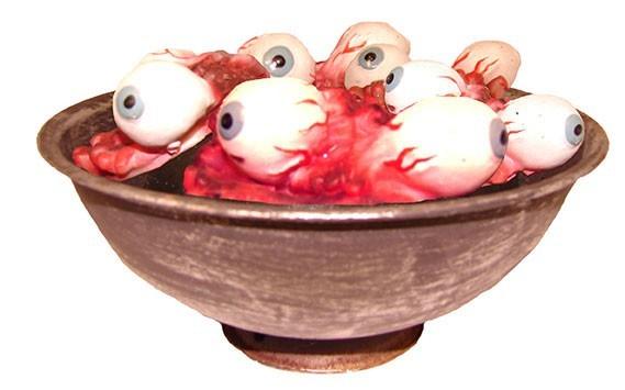 Blutige Augen in Schüssel Tischdeko