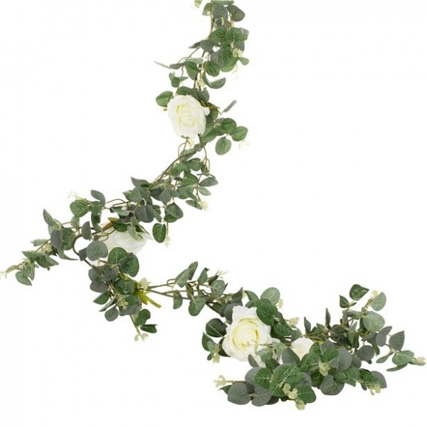Eucalyptus & blossoms decoration garland 1,8m