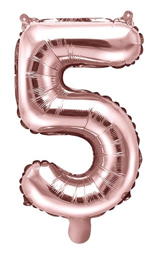 Metallic number balloon 5 rose gold 35cm