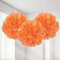 3 Fluffige Pompons Locarno orange 23cm