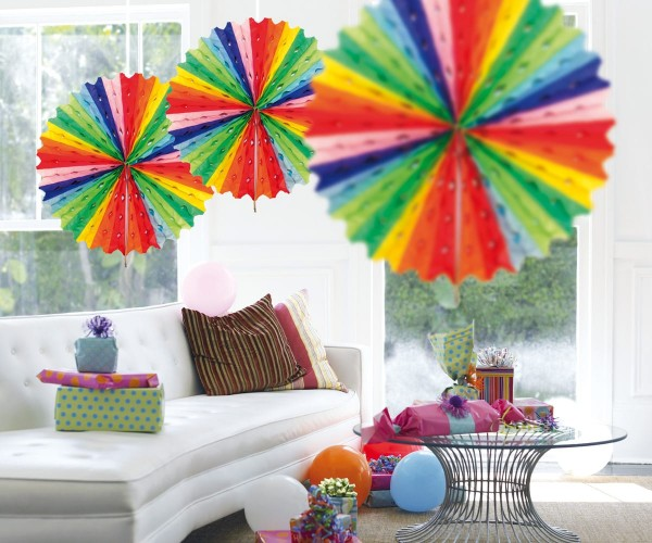 Striped honeycomb fan multicolour 45cm
