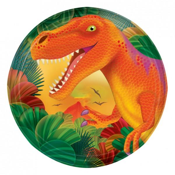8 assiettes en papier dinosaure géants préhistoriques 17,7 cm