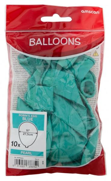 Set van 10 luchtballonnen lichtblauw parelmoer 27,5cm