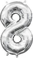 Mini Folienballon Zahl 8 silber 35cm