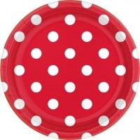 8 Rote Pünktchen Pappteller Lotta 18cm