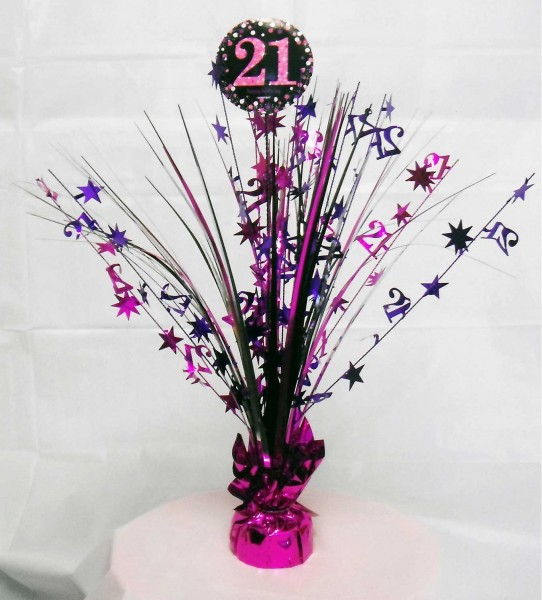 Fontaine de table 21e anniversaire rose 46cm