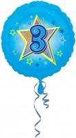 Folienballon Zahl 3 in Hellblau