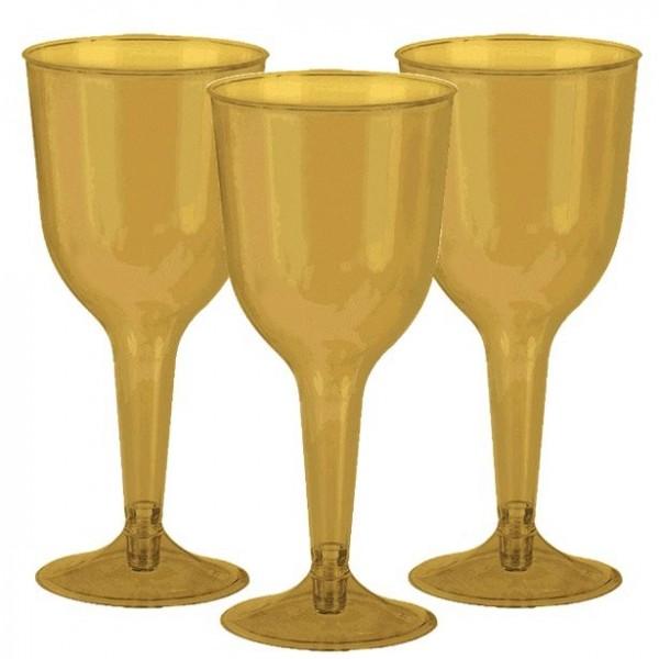20 gouden plastic wijnglazen 295ml