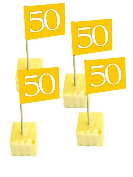 50 brochetas de queso para la boda dorada