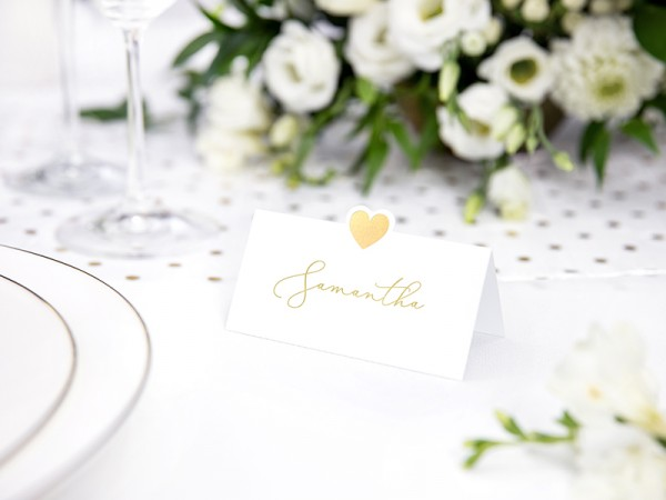 10 heart place cards gold