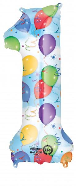 Zahlenballon 1 kunterbunt 86cm