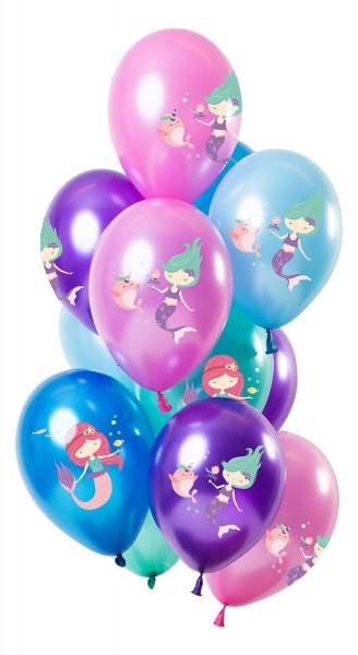 12 ballons en latex sirène de couleur métallique