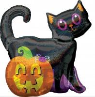 Halloween Folienballon im Katzen&Kürbis Design