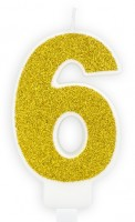 Goldschimmer Tortenkerze Zahl 6