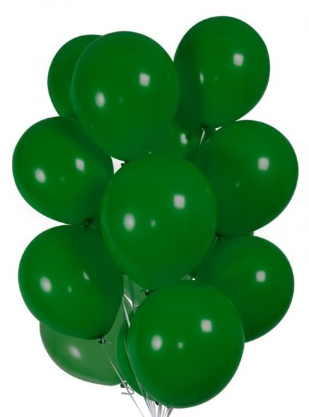30 Latex Balloons Dark Green 23cm