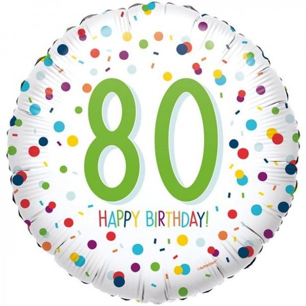 80. Geburtstag Konfetti Folienballon 46cm