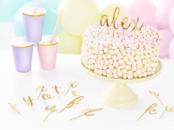 Decorazioni per torta lettere dorate 53 pezzi