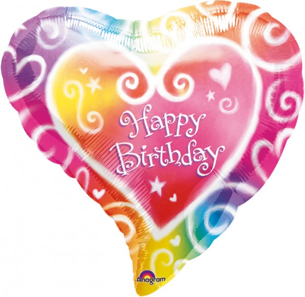 Happy birthday heart balloon colorful