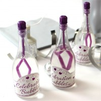 24 Mini Sektflaschen Seifenblasen 9cm violett