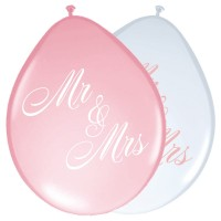 Mr & Mrs Pastell Latexballons 8 Stk