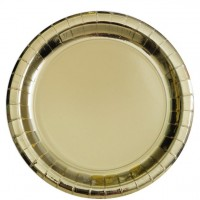 8 Metallisch goldene Pappteller 21,9 cm