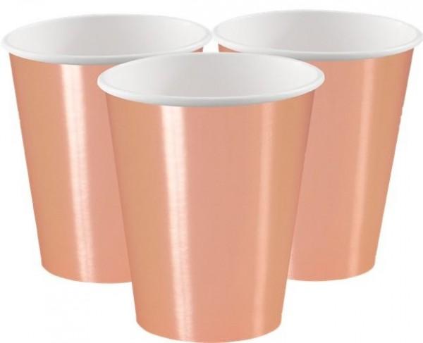 8 gobelets en papier or rose Aurora 355ml