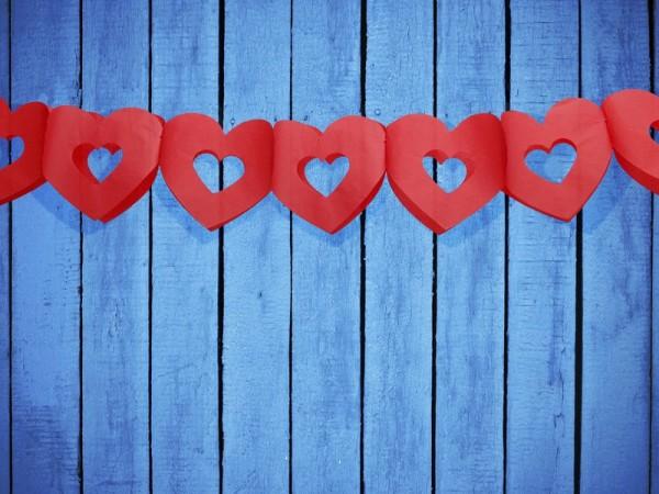 Guirlande coeur en papier rouge 3m