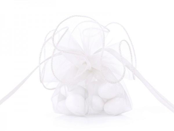 20 Organzabeutel Flora weiß 26cm
