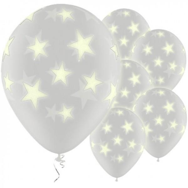 25 Fluoreszierende Stern Ballons 28cm