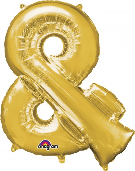 Foil balloon symbol & gold 96cm