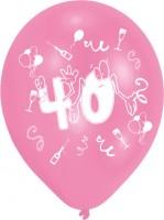 8 Verrückte Zahlen-Ballons 40.Geburtstag Bunt