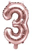 Metallic Zahlenballon 3 roségold 35cm