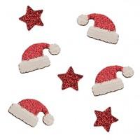 Streudeko Weihnachtsmützen und Sterne