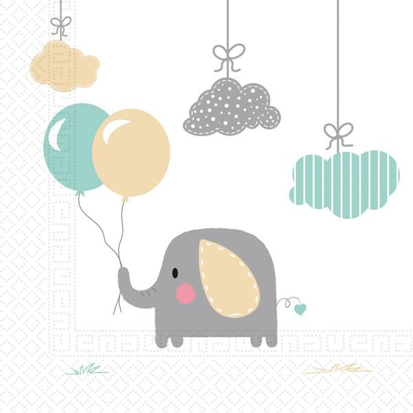 20 servilletas de elefante bebé compostables 33x33cm
