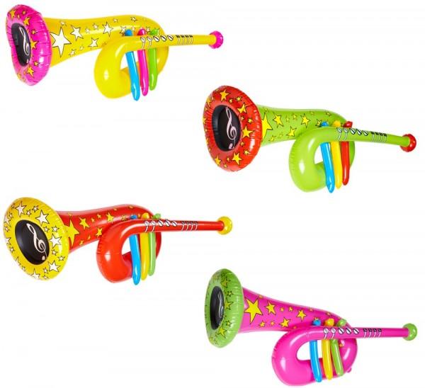 Kleurrijke opblaasbare clown trompet 63cm