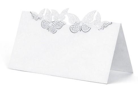 10 kartek na stół z białymi dekoracjami w motyle