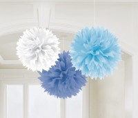 3 Blaue Wölkchen Pompons