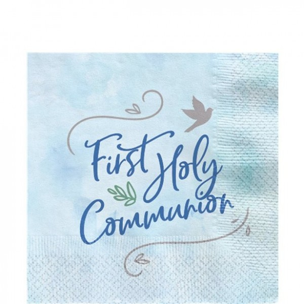12 first communion napkins blue 33cm