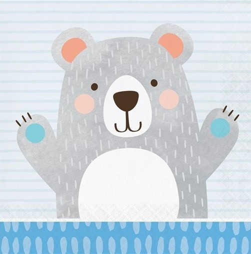 16 party bear napkins 33cm