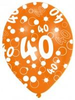 Vorschau: 6 Luftballons Bubbles 40.Geburtstag Bunt 27,5cm