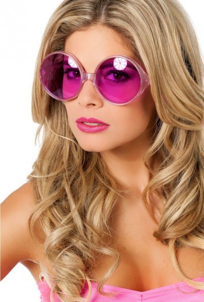 70er Jahre Party Brille Neon Pink