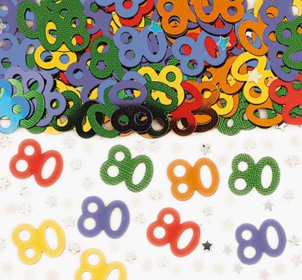 80. Geburtstag Rainbow Party Streudeko Bunt Metallic